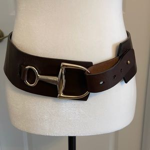 Brown Leather hip slayer belt with gold buckle.